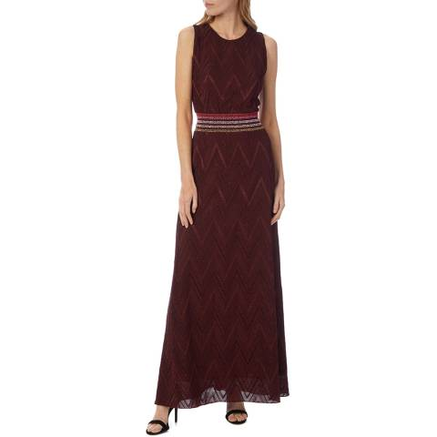 M Missoni Dark Red Zigzag Maxi Dress