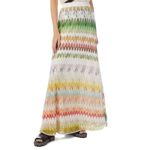 Missoni White Multi Jaquard Maxi Skirt