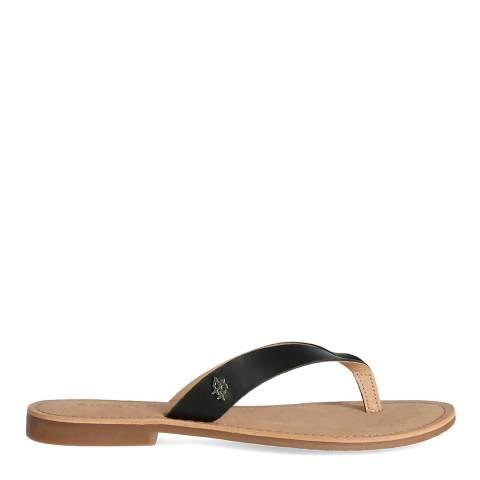 Mexx Black Leather Flip Flop Sandal