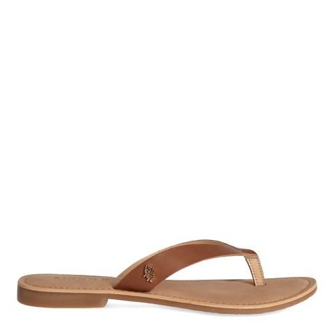 Mexx Beige Leather Flip Flop Sandal