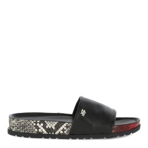 Mexx Black Leather Eshaan Slide Sandal