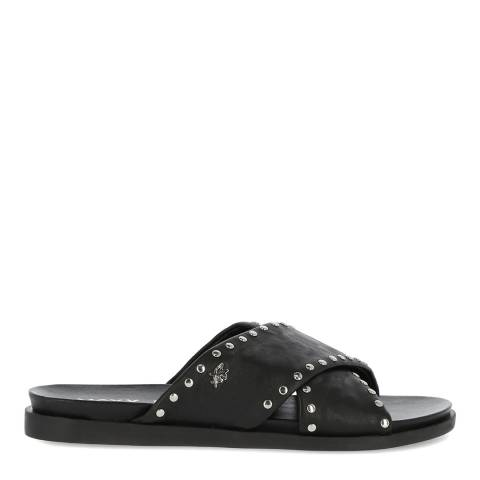 Mexx Black Leather Cross Strap Sandal