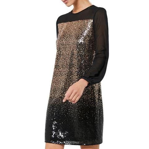 Mint Velvet Black Sequined Bow Mini Dress
