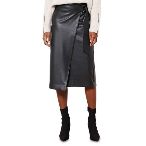 Mint Velvet Black Faux Leather Wrap Midi Skirt