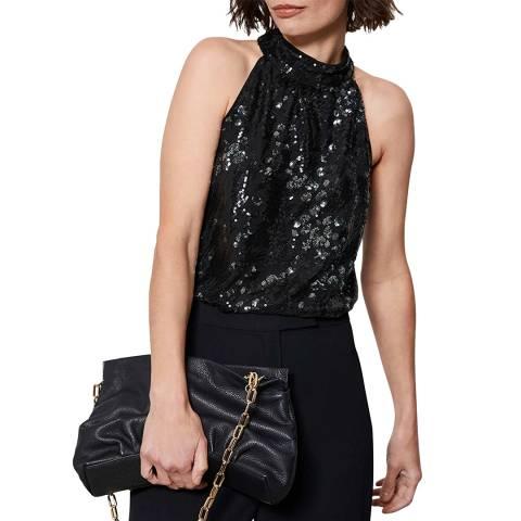 Mint Velvet Black Animal Sequin Halter Top