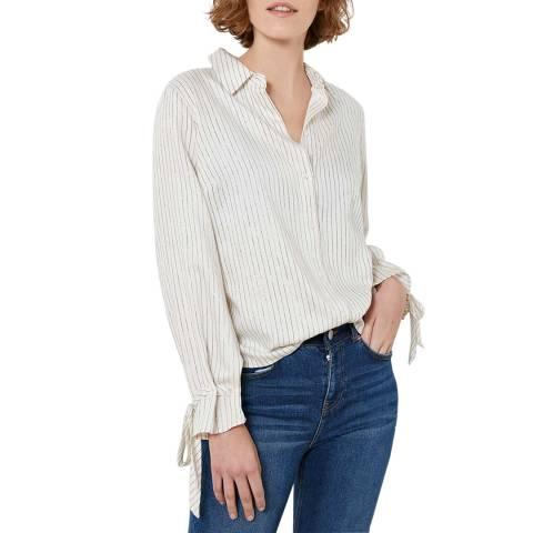Mint Velvet Off White Pinstriped Shirt