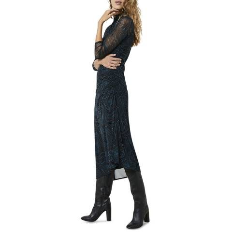 Mint Velvet Multi Print Asymmetric Midi Dress