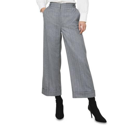 Mint Velvet Grey Crop Wide Leg Trousers