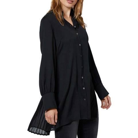 Mint Velvet Black Pleated Long Shirt