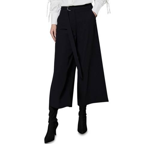 Mint Velvet Black Twill Cropped Trousers