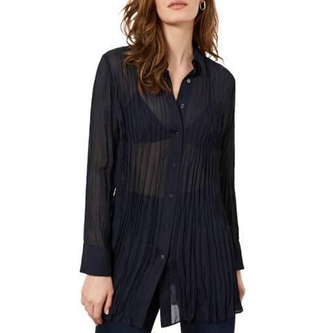 Mint Velvet Navy Crinkled Longline Shirt