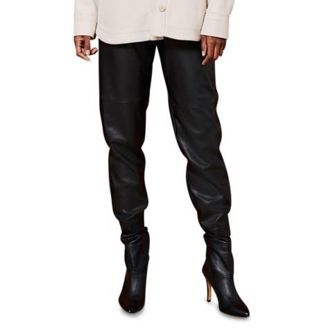 Mint Velvet Black Faux Leather Joggers