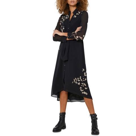 Mint Velvet Black Print Tie Shirt Dress