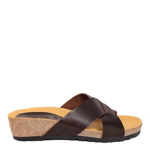 Piemme Brown Crossover Strap Sandal