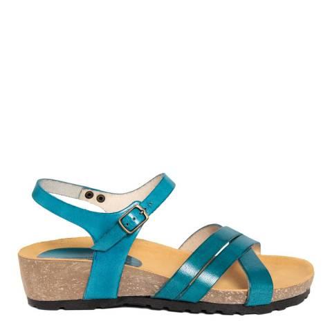 Piemme Blue Leather Low Wedge Sandal