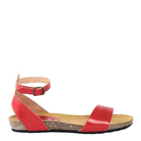Piemme Red Leather Single Strap Sandal