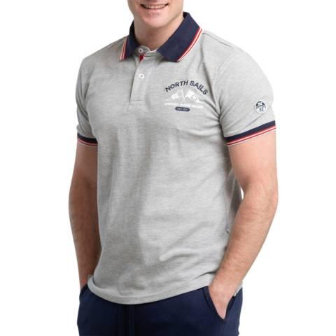 NORTH SAILS Grey Logo Cotton Polo Shirt