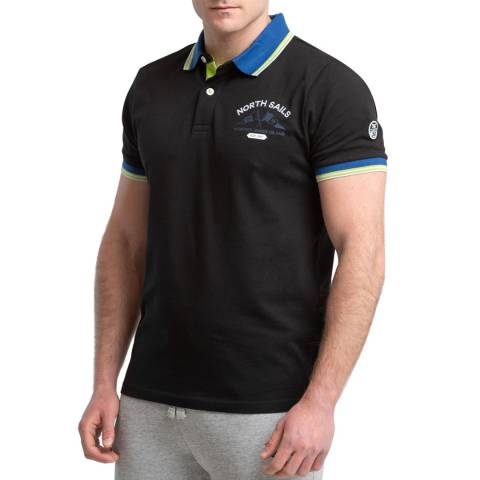 NORTH SAILS Black Logo Cotton Polo Shirt