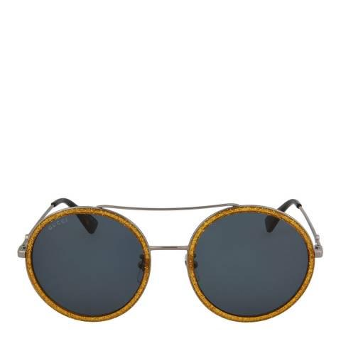 Gucci Women's Ruthenium Blue Gucci Sunglasses 56mm