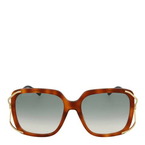 Gucci Women's Havana Gold/Green Gucci Sunglasses 56mm