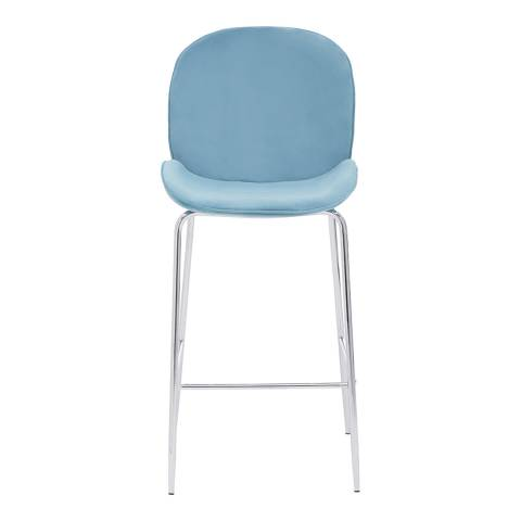Fifty Five South Light Blue Velvet, Chrome Tamzin Bar Chair