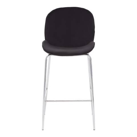 Fifty Five South Black Velvet, Chrome Tamzin Bar Chair