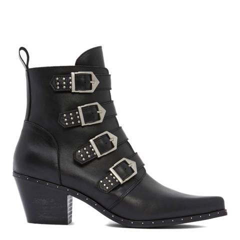 Mint Velvet Black Lou Leather Cowboy Boots