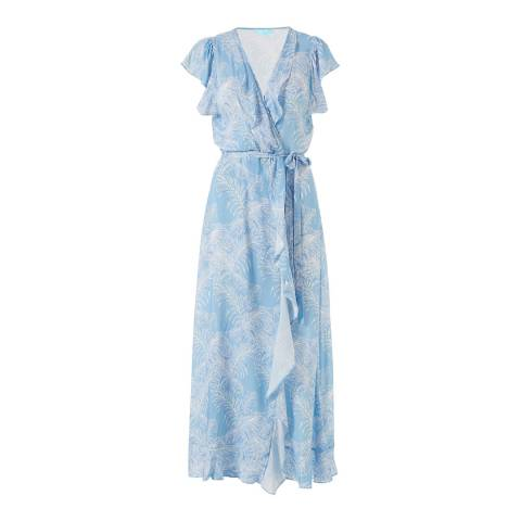 Melissa Odabash Tropical Blue Brianna Wrap Front Dress