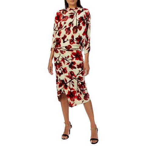 Vivienne Westwood Cream Floral Silk Infinity Dress
