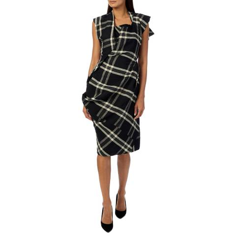 Vivienne Westwood Black Check Grand Fond Shift Midi Dress