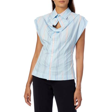 Vivienne Westwood Blue Stripe Yawning Cotton Shirt