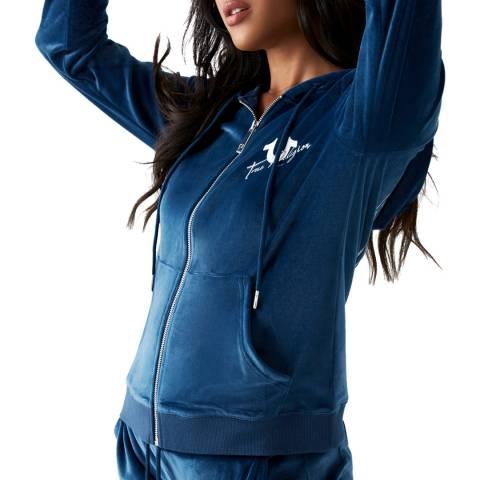 True Religion Blue Dazzeled Full Zip Hoodie