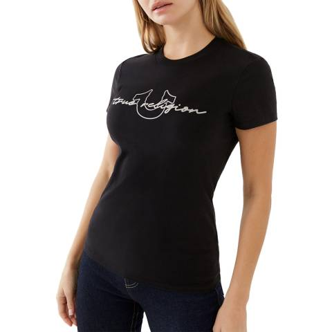 True Religion Black True Religion Script Slim T-Shirt