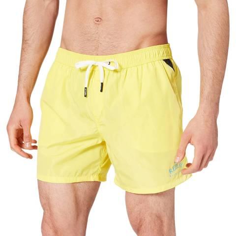 Replay Yellow Small Logo Swim Trunks