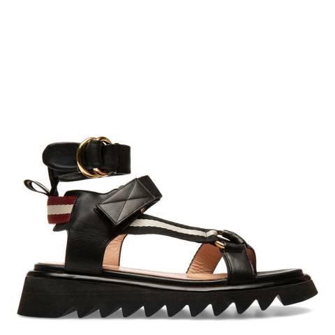 BALLY Black Pyia Leather Flat Sandals