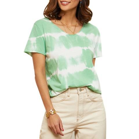 LE MONDE DU LIN Green Tie Die Linen T-Shirt