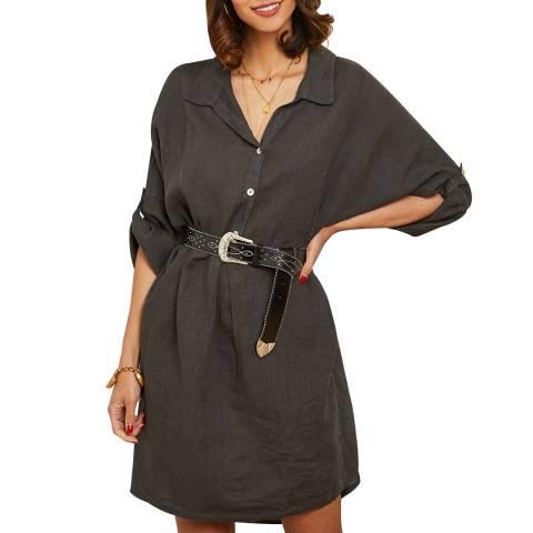 LE MONDE DU LIN Anthracite Linen Shirt Dress