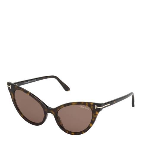 Tom Ford Women's Brown Cat Eye Tom Ford Sunglasses 53mm