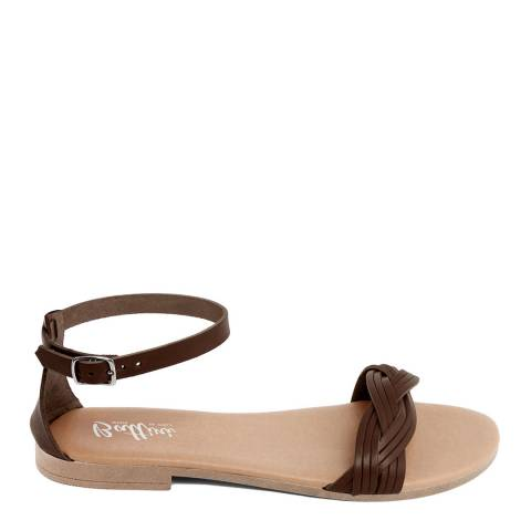 Battini Brown Leather Woven Strap Sandal