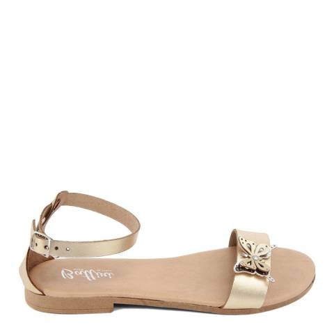 Battini Gold Leather Butterfly Sandal