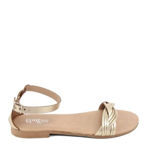 Battini Gold Leather Woven Strap Sandal
