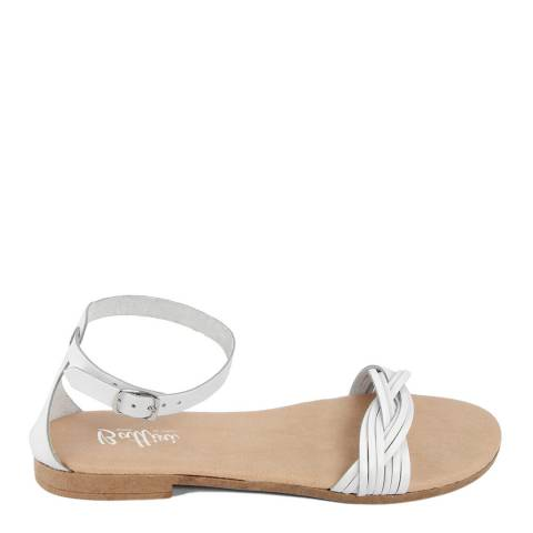 Battini White Leather Woven Strap Sandal