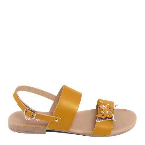 Battini Mustard Double Strap Butterfly Sandal