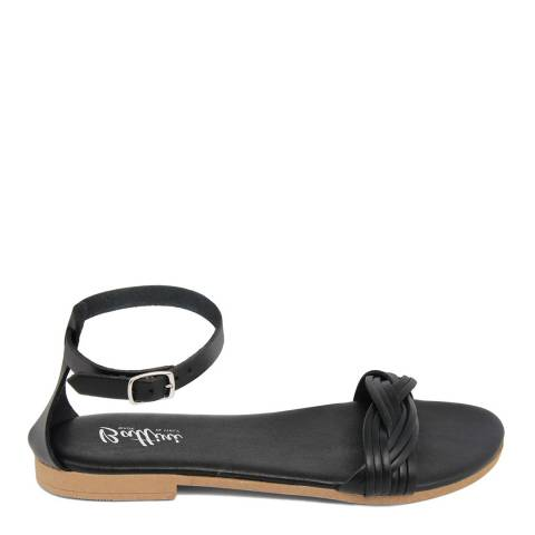 Battini Black Leather Woven Strap Sandal