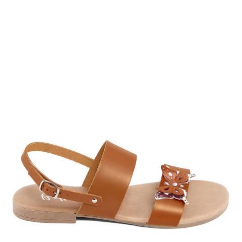 Battini Tan Double Strap Butterfly Sandal