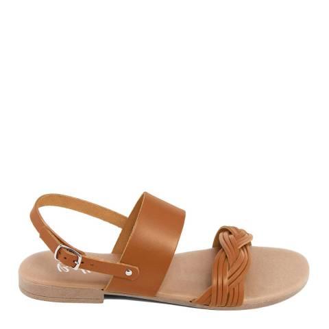 Battini Tan Leather Double Strap Woven Sandal
