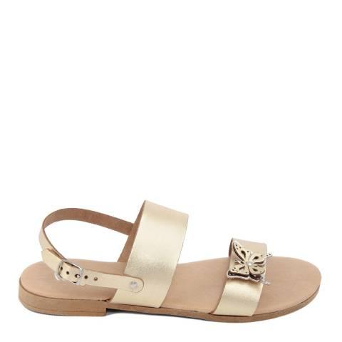 Battini Gold Double Strap Butterfly Sandal