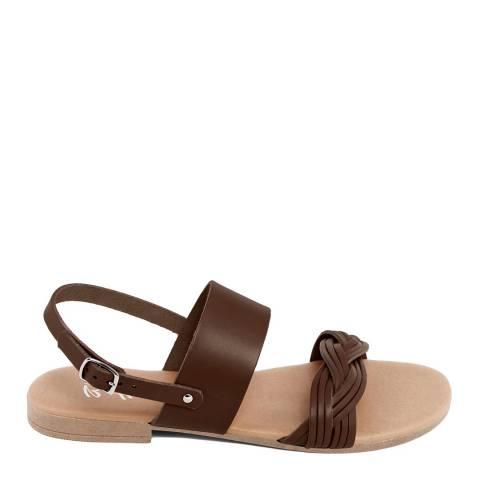 Battini Brown Leather Double Strap Woven Sandal