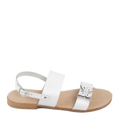 Battini White Double Strap Butterfly Sandal