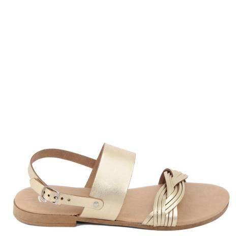 Battini Gold Leather Double Strap Woven Sandal